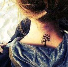 small tree tattoo on neck - 55 Lovely Tattoos for Girls  <3 !