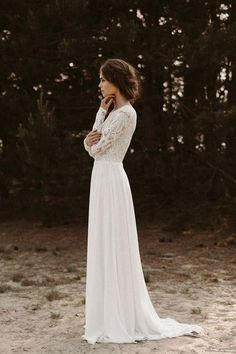 Wedding dress long lace sleeve back neckline boho wedding dress vintage bridal hairstyle hairstyle - Light & Lace Bridal Couture - - - Country Wedding Dresses, Bohemian Wedding Dresses, Modest Wedding Dresses, Lace Weddings, Bridal Dresses, Wedding Country, Country Weddings, Wedding Rustic, Couture Dresses