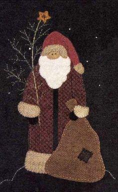 Wool Applique Santa North Woods Santa Wool Santa from Cotton Tales Penny Rug Patterns, Wool Applique Patterns, Felt Applique, Applique Quilts, Print Patterns, Sewing Patterns, Felted Wool Crafts, Felt Crafts, Christmas Applique