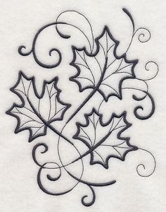 Machine Embroidery Designs at Embroidery Library! Embroidery Leaf, Hand Embroidery Stitches, Hand Embroidery Designs, Embroidery Patterns, Stencil Patterns, Stencil Designs, Quilling Patterns, Maple Leaf Drawing, Leaf Stencil