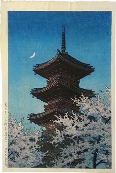 "Japanese Art Print ""Toshogu Shrine in Spring Dusk"" by Kawase Hasui, woodblock print reproduction, cultural art, landscape, crescent moon Japanese Art Prints, Japanese Artwork, Japanese Painting, Art Occidental, Art Asiatique, Japon Illustration, Art Japonais, Scenery Wallpaper, Japan Art"