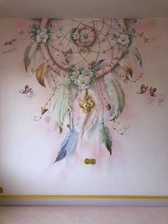 Beautiful Dreamcatcher Art – baby world Kids Room Murals, Bedroom Murals, Art Mural, Wall Murals, Disney Baby Nurseries, Dream Catcher Art, Dream Catcher Painting, Wall Painting Decor, Little Girl Rooms