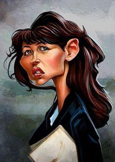 Caricatura de la actriz Sophie Marceau, realizada por el artista Bogdan Covaciu.     Sophie Marceau por Bogdan Covaciu