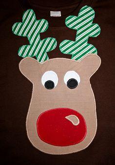 Boys Christmas Shirt  Appliqued Reindeer Shirt for Children or Baby Tee Shirt or onesie