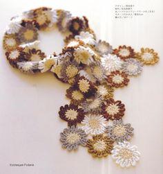 Crochet flower scarf.