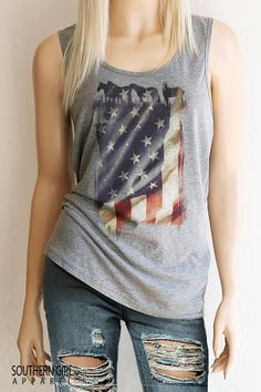 Shop Festival and Country Tanks, Tees, Jewelry and Gifts at Southern Girl. The Official Site of Southern Girl Apparel® Country Tank Tops, Country Shirts, Southern Girl Outfits, American Flag Tank, Summer Tank Tops, Cool Shirts, Scoop Neck, Cute Outfits, Rodeo