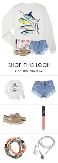 """Happy Friday!"" by mmprep ❤ liked on Polyvore featuring Guy Harvey, Sperry, NARS Cosmetics and Ray-Ban"