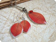 Red leaves earrings handmade resin epoxy leaf by YaTomkaStore, $29.00