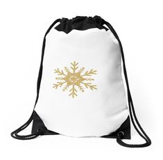 'Golden Glitter Sparkle Snowflake with 12 Double Forked Branches and Center Star' Sticker by podartist Backpack Bags, Drawstring Backpack, Custom Drawstring Bags, Golden Glitter, Star Stickers, Sticker Design, Tree Branches, Woven Fabric