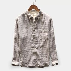 Mens Vintage Plaid Linen Loose Comfy Popover Button down Shirts Mens Summer T Shirts, Cheap Mens Shirts, Casual Shirts For Men, Men Casual, Shirt Refashion, Shirt Style, Long Sleeve Shirts, Toms, Trousers
