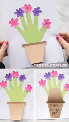 HANDPRINT FLOWER CARD 🌸 - such a cute Mother's day card for kids to make! If you're looking for a Mother's Day Craft for kids this one makes such a great keepsake. ❤ # crochet projects for kids Mother's Day Handprint Flower Pot Daycare Crafts, Preschool Crafts, Easter Crafts, Holiday Crafts, Fun Crafts, Baby Crafts, Spring Craft Preschool, Spring Crafts For Preschoolers, Crafts For Babies