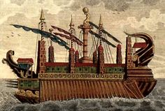 "Aglarrâma, Alcarondas, the castle of the sea - it seems possible that this 1798 illustration of the ancient super-vessel ""Syracusia"" may have inspired the description of Ar-Pharazôns flagship."