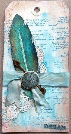 Cool way to use a feather and clock pieces. Original pinner sez: Tammy Tutterow's tutorial, but substituting things that I didn't have with things I did. Card Tags, Gift Tags, Tag Craft, Feather Cards, Etiquette Vintage, Handmade Tags, Paper Tags, Vintage Tags, Artist Trading Cards