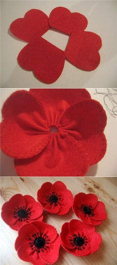 Simple DIY felt craft, felt craft pattern and felt craft for sale. Pictures 0688340 - Fabric Crafts for Diy and Crafts Cloth Flowers, Diy Flowers, Paper Flowers, Felt Flowers Patterns, Kanzashi Flowers, Felted Flowers, Felt Crafts Patterns, Simple Flowers, Fabric Crafts