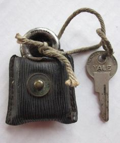 Old Yale Padlock - In Original Leather Case with Key