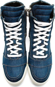 Balmain: Blue Denim High Top Sneakers