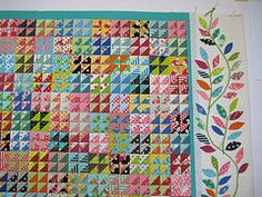 triangle love/leaves  No tutuorial - but look at the site.  UNBELIEVABLY beautiful quilts.  Such talent!