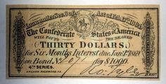 Confederate States Of America Thirty Dollar Bond Receipt 4th Series by Otter Creek Antiques $9.95