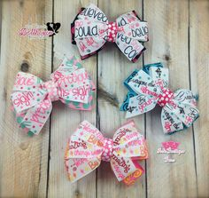 """Collection of 4 stacked Pinwheel Bows: """"She Believed She Could so She Did"""", """"I am Precious in His Sight"""", """"Believe in Yourself, Everyone else is Already Taken"""", and """"Work Hard, Be Kind, Amazing Things Will Happen""""  Just Sayin' An Auction Style Event Opens 3/3/15 at 5 PM CST Closes at 3/5/15 at 9 PM CST Purchase Here: www.facebook.com/dollhousedesigngroup"""