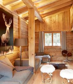 chalet living room with wood walls