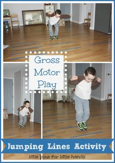 Jumping Lines: Simple Proprioceptive Gross Motor Activity. possibly incorporate this into obstacle course of some kind? (include incentive to complete the course. Proprioceptive Activities, Gross Motor Activities, Gross Motor Skills, Sensory Activities, Therapy Activities, Learning Activities, Preschool Activities, Proprioceptive Input, Sensory Motor