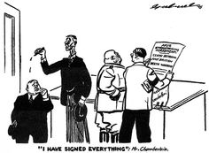 A cartoon published in Britain in a Communist newspaper on 1 October 1938. The figures on the left are Daladier (the French Prime Minister) and Chamberlain. The figures on the right are Mussolini and Hitler.
