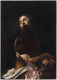 Nicola Samori - Maddalena, oil on wood. Meticulously painted mannerist oils, then peeled and slumped selectively from the canvas. Arte Horror, Horror Art, Olgierd Von Everec, Art Noir, The Ancient Magus, Italian Artist, Vampires, Painting & Drawing, Human Painting