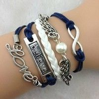Wish | Hot Fashion Infinity Love Believe Angel Wings DIY Braided Bracelet Gift New (Color: Blue)