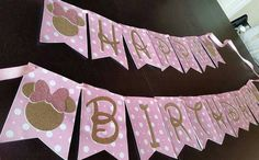 Pink Minnie Mouse Birthday Banner by PaperDesignsStudio on Etsy