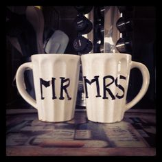 Found this idea on Pinterest. Simply took two white mugs, sharpied Mr. and Mrs. and baked at 350 for 30 minutes! Quick and easy craft :) Harder because of the grooves in this mug, but stencil letters work great on flat ones