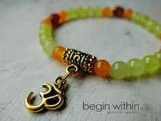 Harmony Mini Mala Energy Bracelet - Mint Green, Orange, and Pink Jade #yoga #meditation #malabeads #malabracelet