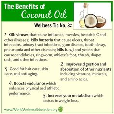 #Wellness Tip No. 32 - The Benefits of Coconut Oil