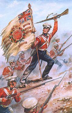 31st REGIMENT OF FOOT (HUNTINGDONSHIRE) BATALLA DE SOBRAON (Punjab) - 1846 Acuarela representando all Sargento Bernard McCabe enarbolando la bandera regimental después de haber muerto dos oficiales abanderados previamente. Más en www.elgrancapitan.org/foro