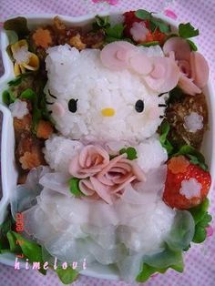 dress-up Hello Kitty Japanese Food Art, Japanese Lunch Box, Kawaii Bento, Cute Bento Boxes, Bento Box Lunch, Food Art Bento, Hello Kitty Wedding, Kawaii Cooking, Little Lunch