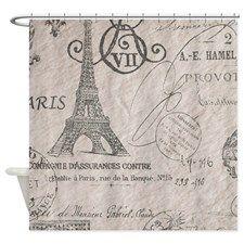 vintage paris eiffel tower scripts Shower Curtain