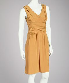 Take a look at this Mustard Gathered Waist Dress - Women by Quiz on #zulily today!