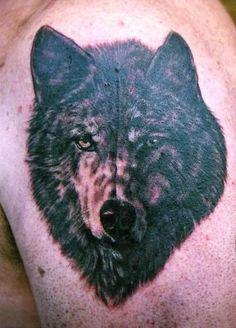 dark wolf tattoo | Black Wolf Tattoo On Shoulder