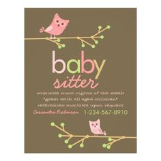 Download this babysitter business card template and other free mod owls babysitter advertisement flyer fbccfo Image collections