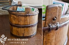 Wooden Water Bucket, miss mustard seed, decor steals, vintage Wooden Water Bucket~ $52.50~12x12x15~mine!