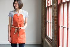 Papaya Cotton Duck Canvas Artisan Apron by ArtifactBags on Etsy