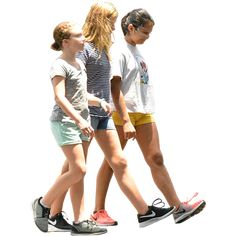 Three girls walking down the street in the summertime. Background removed for digital compositions.