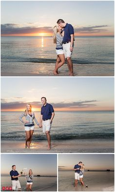 beach engagement photos love the champagne! And the navy and white
