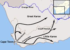 South African colonization, by a combination of Dutch, French, Germans. They called themselves Trekboers. A map of the expansion of the Trekboers out of the Cape Colony between 1700 and 1800 Ap World History, History Online, Family History, African Map, African History, African Colonization, Cape Colony, Antique Maps, Historical Maps