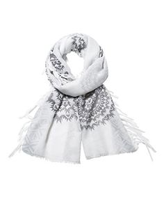 Desigual Women's Rectangle White Silver Scarf, One Size