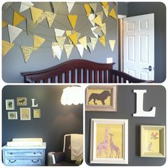 Grey and yellow nursery - love the bunting above bed