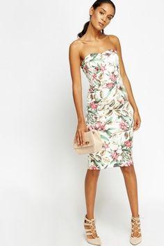 Wild Floral Bandeau Bodycon Dress - White/Multi or Black/Multi  #Summer #Dress #Floral