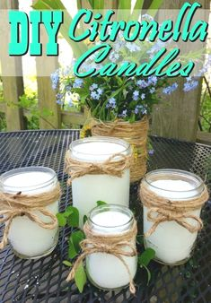 Homemade Citronella Candles - Say farewell to mosquitoes! These DIY Citronella candles are a fantastic natural mosquito repellent, make a great gift and work fantastic! - Crafts Diy Home Diy Mosquito Repellent, Natural Mosquito Repellant, Bug Repellent Candles, Insect Repellent, Homemade Candles, Diy Candles, Natural Candles, Making Candles, Diy Candle Ideas