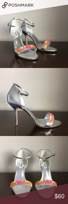Dune Helena Silver Sandal, Size 10 New Dune Helena silver leather sandal with neon orange, yellow, pink and clear baguettes. Unworn, with box. Dune London Shoes Sandals