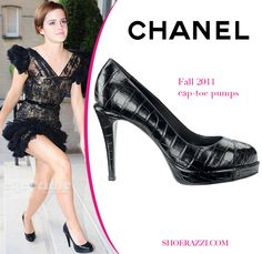 31f3c29e686c Emma Watson in Chanel Patent Platform Cap-toe Pumps