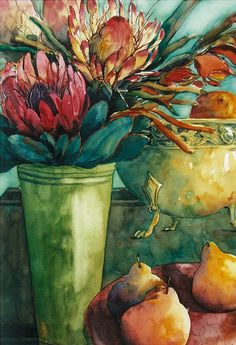 Proteas-and-Pears… Watercolor Flowers, Watercolor Paintings, Watercolors, Protea Art, Art Aquarelle, Still Life Art, Art Graphique, Land Art, Painting Inspiration